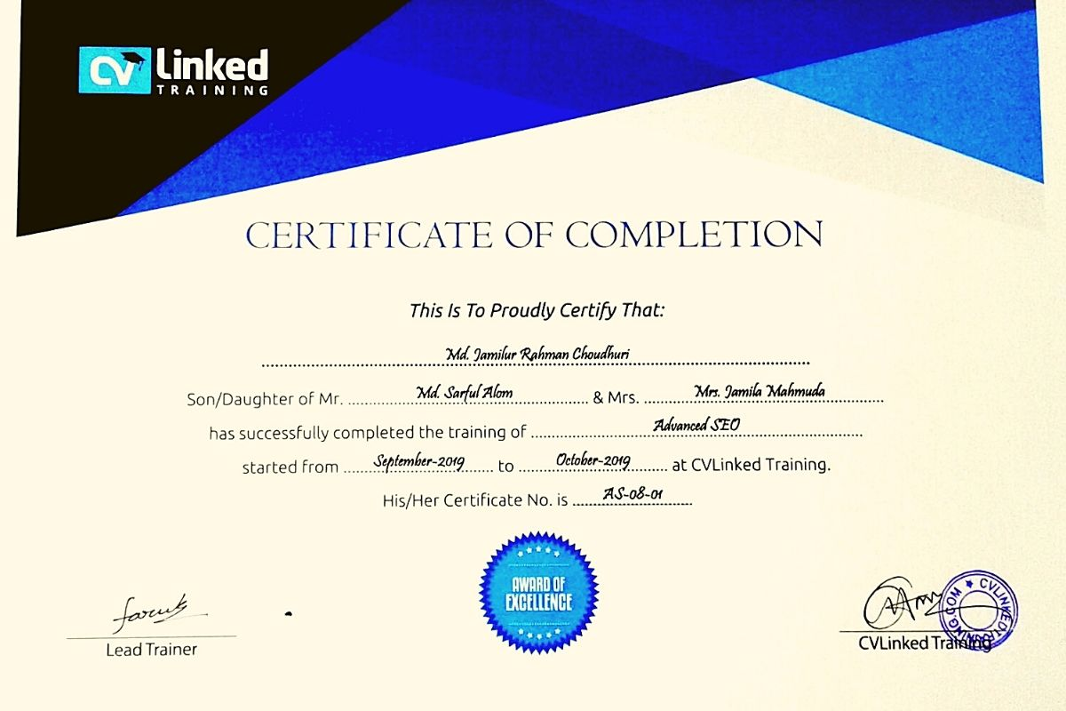 SEO Certification course from Cvlinked group